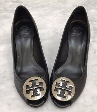 TORY BURCH Authentic Sally 2 Black Peep toe Shoes Wedges Silver Logo 9 w Box