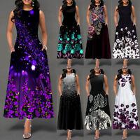 Women's Casual Sleeveless Floral Long Maxi Summer Party Cocktail Dress Sundress