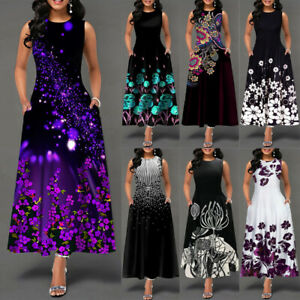 Women's Casual Sleeveless Floral Long Maxi Summer Party Cocktail Dress Sundress