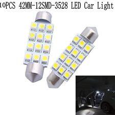 10Pcs 12SMD 42MM 3528 White LED Light Auto Lamp Car Interior Festoon Dome Bulbs