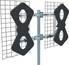 360 8-BAY ANGLED METAL MULTI-DIRECTIONAL VHF UHF OUTDOOR HD TV ANTENNA OTA ATSC