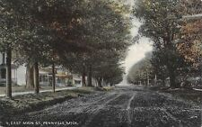 Pennville Michigan~East Main Street Homes~Dirt Road~Shade Trees~1908 Postcard