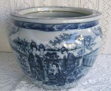 ***** VINTAGE SATSUMA BLUE AND WHITE PORCELAIN FISHBOWL PLANTER WITH GEISHAS ***