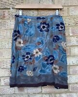 Vintage Monsoon Blue Multi Knee Length Summer Skirt Floral Lined (14) Fits 8/10