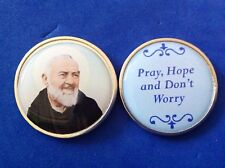 "ST PADRE PIO Healing Pocket Token Protection Epoxy 1-1/8"" Saint Medal Prayer"