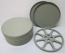 "Lot of 7 Vtg 16mm Movie Film Reels In Metal Storage Cases Large 14"" Diameter"