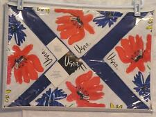 Vera Neumann 70s Bright Pop-Art Wildflower Cotton Napkins, Blue Placemats Boxed