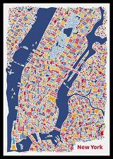 New York Stadtplan Poster Vianina Poster Bild Kunstdruck im Alu Rahmen 100x70cm