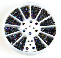 Lot 300pcs 3D Nail Art Tips Crystal Glitter Rhinestone Pearl Decoration +Wheel