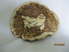 Wood Burning Artistic Pyrography Manatee On Tree Mushroom