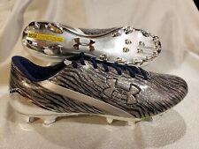 Under Armour Spotlight Football Cleats 1280533-241 Metallic Silver/ Navy Size 15