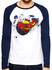 SUPERMAN Logo Ripped Effetto Strappato Da Uomo Baseball Camicia lunga sleve T-SHIRT M