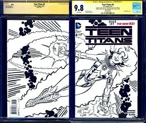 Teen Titans #8 BLANK CGC SS 9.8 signed STARFIRE WRAPAROUND SKETCH McDaniel LYDIC