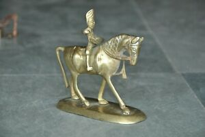 Old Brass Handcrafted Engraved Horse Rider/Hero Of War Figurine