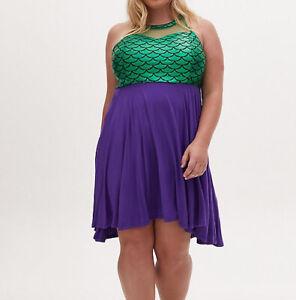 NWT Torrid Disney The Little Mermaid Ariel Hi Low Dress Size 6 6x 30