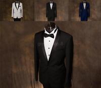 Men's slim fit Wedding Suit TUXEDO - SUPER 200s Wool - BLACK WHITE or Royal BLUE