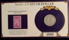 1889 O Morgan Silver Dollar- Commemorative Stamp Set, Rare 3c Pan American Stamp