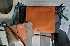 Nwt 2 Piece Coach Crossbody Leather Colorblock Purse Wristlet Sedona