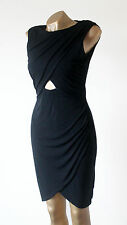 River Island Black Wrap Draped Front Cut Out Bodycon Party Dress Size 12