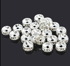 100 x 6 mm Rhinestone Crystal Diamante Silver Plated Spacers Beads Grade A
