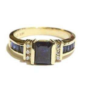 Effy 14k yellow gold .12ct diamond natural sapphire gemstone ring 6.4g designer