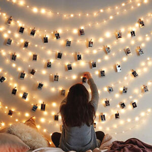50 LED Photo Clip Peg String Fairy Lights Warm White Wall Hanging Wedding Party