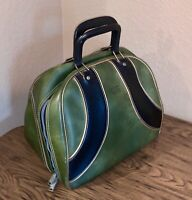 Vintage AMF Volt Green & Black Leather Zip Bowling Ball Bag Case Retro