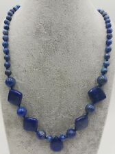 New Natural Blue Lapis Lazuli DIY Beads Necklace 18''