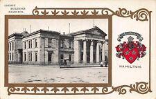 VTG POSTCARD Lankarshire Hamilton Seal COUNTY BUILDINGS Gold SCOTLAND Antique A6
