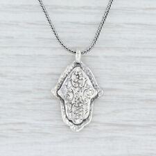 "Silpada N1712 Hamsa Hand Pendant Necklace 17"" Sterling Silver Wheat Chain Israel"