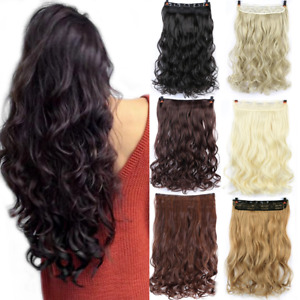 Long wavy Clip In One Piece Hair Extension Half Head Real Natural Hair Hairpiece