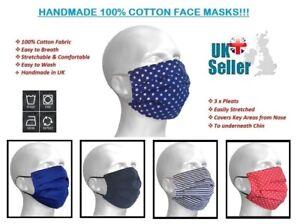 Face Mask Adults 100% Cotton,Washable, Reusable, Various Colours