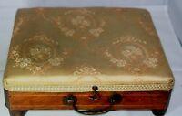 Sewing CUSHIONED PAD TOP Box; Original ANTIQUE c1800,Wood & Green Felt Interior