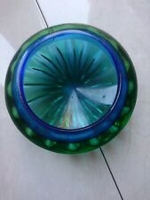 Vintage Art Glass Bowl green and blue
