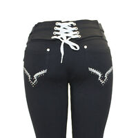 Womens New Big Size Black Stretchy Diamante Lace Up Jegging Jeans Leggings