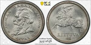 Lithuania MS 62 1936 5 Litai in PCGS holder