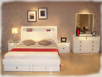 Gemma 5 piece KING Bedroom Suite with LED Lights - Hi Gloss White - BRAND NEW