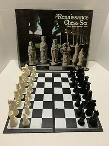 """Vintage E.S. Lowe Chess Set 832 Renaissance Chess Weighted Felted Set 4"""" King"""