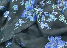 Black / Blue Floral Chiffon Fabric