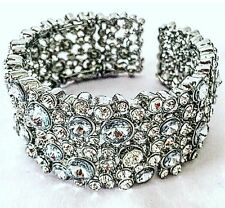 Ladies Diamanté Bracelet Bangle Silver Crystal Adjustable Beautiful Big Luxury