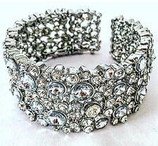 Ladies Diamanté Bracelet Bangle Silver Crystal Adjustable Beautiful Big Luxury