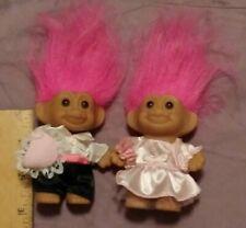VINTAGE Russ WEDDING FLOWER GIRL & RING BEARER Troll Dolls