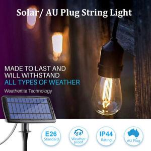 8-15M Solar/AU Plug LED Festoon String Light Clear Bulb Party Outdoor Warm White