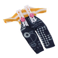 Cute Top Suspender Jeans for 11cm OB11 Doll Mini Blythe Casual Outfits Accs