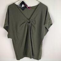 V by Very Khaki Green Short Sleeve Textured Top UK16