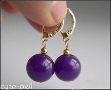 Yellow Gold Plated Hook Earrings 12mm Purple Round Jade Gemstone Beads