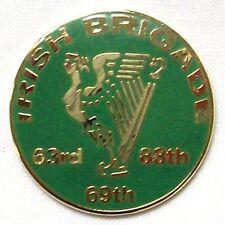 CIVIL WAR IRISH BRIGADE ROUND LAPEL PIN 63RD 69TH 88TH BRIGADE W/HARP 13002