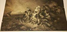 1836 FRENCH CHARCOAL PASTEL DRAWING ROMANTICISM JUNE REBELLION, CHOLERA PLAGUE