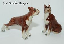 Miniature Ceramic Hand Painted Boxer Dogs Set of 2 Figurine Ornaments