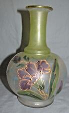 Blown Glass Bohemian Harrach Glassware - Enameled Purple Flower Vase